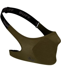 "Studio photo of the BUFF® Filter Face Mask Design ""Solid Military"". Source: buff.eu"