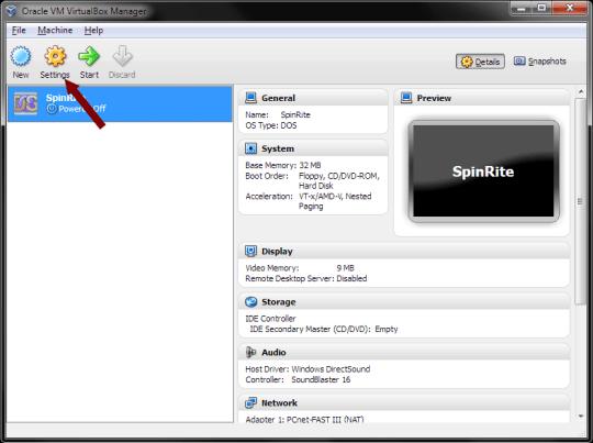 VirtualBox - Settings Option