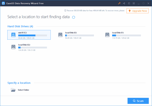Recover deleted files Free using EaseUS Data recovery wizard 1