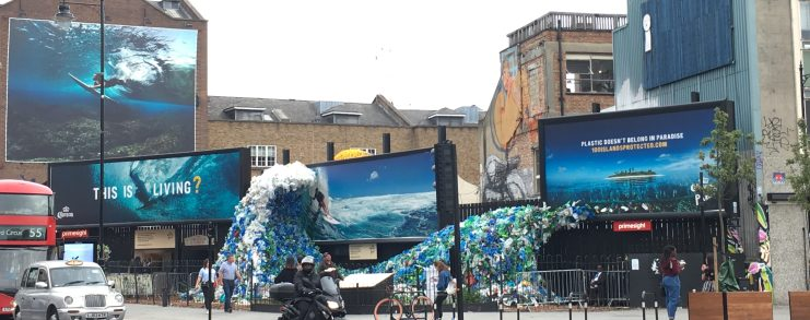 Wave made from plastic waste