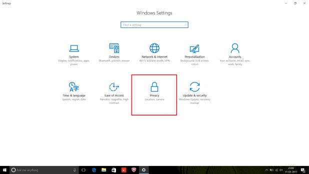 Privacy Setting in Windows 10