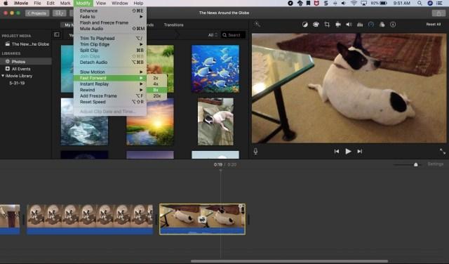 speed up a video on iMovie