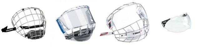 Différentes protections faciales de hockey