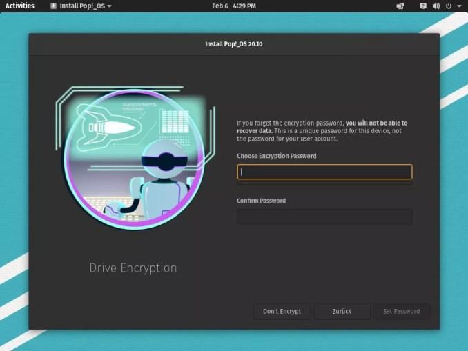 Installez Pop! _OS 20.10 - mot de passe de cryptage pour la ligne