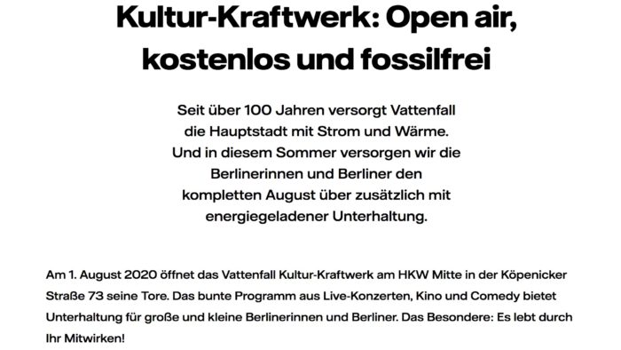 Culture KRAFTWERK Open Air free of charge and fossil-free