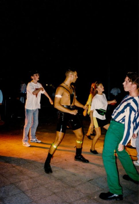 Techno scene combined in sportswear and fetish style