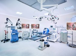 Hospital operating room with monitors and equipment