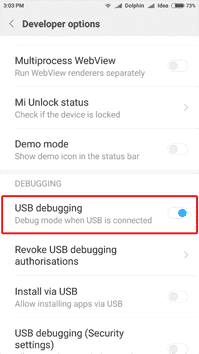 Step 3 - Change Developer Mode Settings (Bootloader Redmi Note 3)