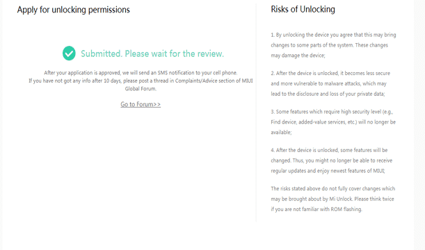 Step 7 - Successfully Applied For Unlocking Permissions From Xiaomi (Unlocking Bootloader)
