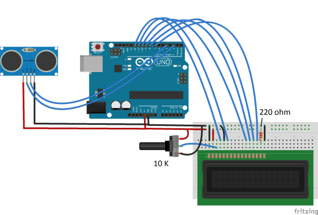Circuit diagram to interface LCD and HC-SR04 with an Arduino Uno