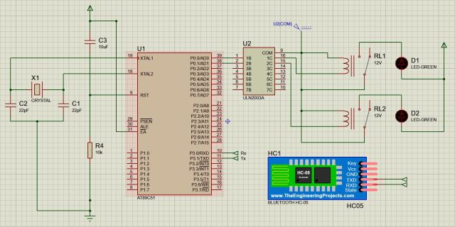 Circuit diagram to interface bluetooth to 8051 using a relay