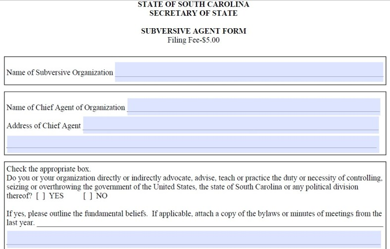 South Carolina Subversive Agent Form