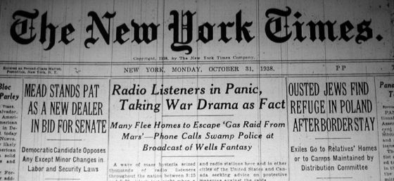 War of the Worlds New York Times headline