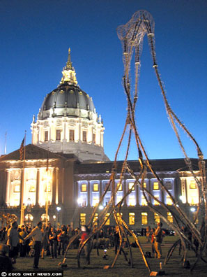 burning man art at city hall