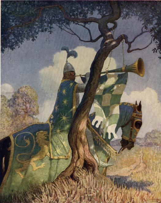 The Green Knight Preparing To Battle Sir Beaumains 1922