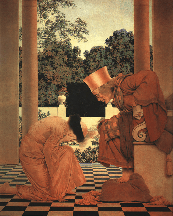 Maxfield Parrish - Lady Ursula Kneeling before Pompdebile - from The Knave of Hearts - 1924