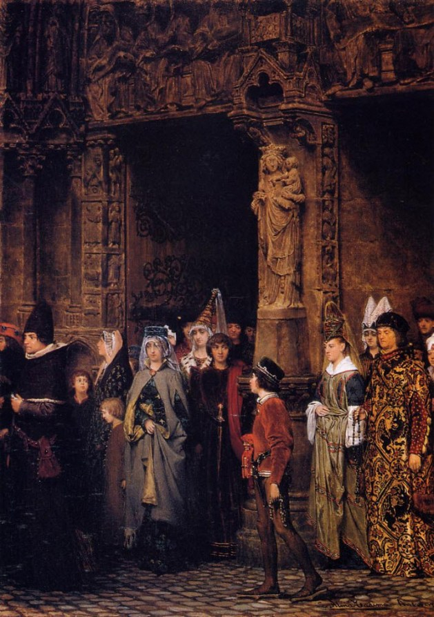 Lawrence Alma-Tadema - Leaving Church in the Fifteenth Century - 1864