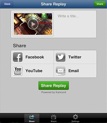 Users can share recorded gameplays onto social networks or through e-mails.