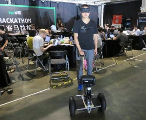 Zhang Junheng from Basement Hackers testing their Rodog prototype (Image credit: TechNode)