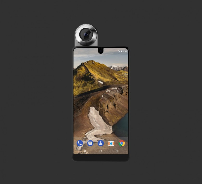 """Full frontal: Essential Phone's """"Full Display"""" screen and 360 degree camera attachment (Image credit: Essential)"""