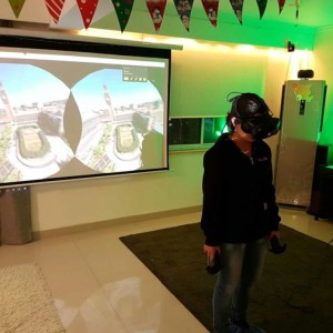 A guest in Hive VR playing Google Earth (Image credit: TechNode)