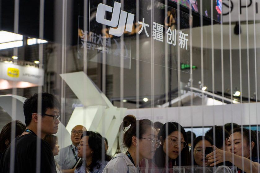 Attendees check out DJI's products at CES Asia 2019 in Shanghai, China on June 11, 2019. (Image credit: TechNode/Eugene Tang)