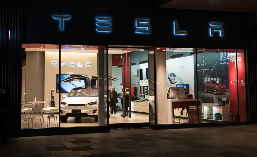 A Tesla flagship store in the southwestern Chengdu municipality with Tesla logo and an electric car model X inside. (Image credit: Bigstock/Keitma-st)