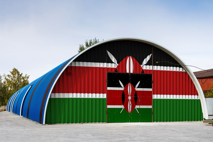 Warehouse painted with Kenyan flag
