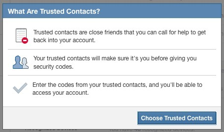 Trusted contacts facebook