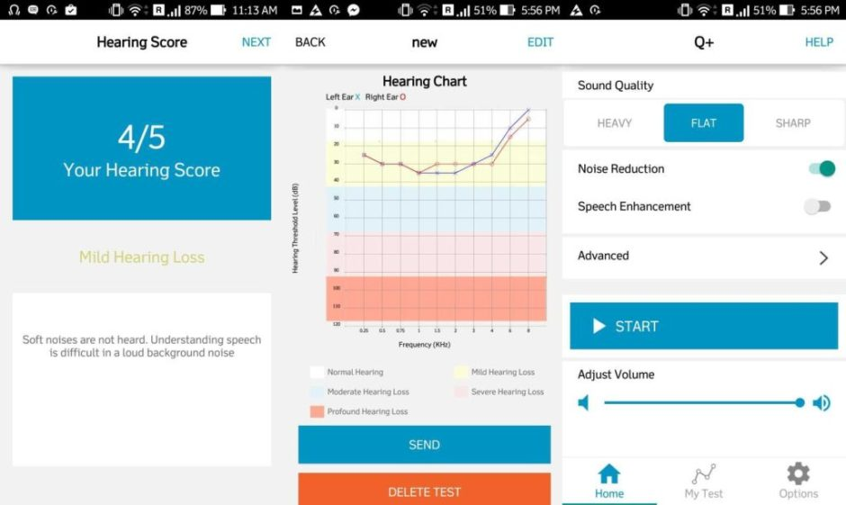 Quadio Q+ hearing test score homescreen screenshots