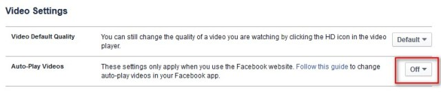 disable facebook video autoplay