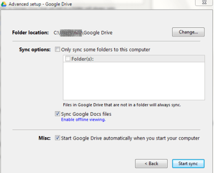 Change location of Google Drive Default Folder