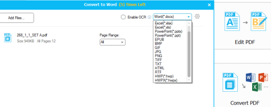 Convert PDF to another format