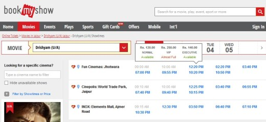 movie ticket booking on bookmyshow for free