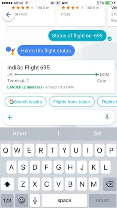 flight status with google allo