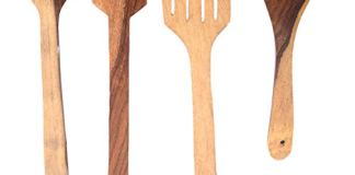 All About Wood Sheesham Hand Crafted Wooden Kitchen Set of 4 Multipurpose Serving & Cooking Spoon Set & Ladles Wooden Spoon Kitchen Tool Set (Natural Wood Colour)