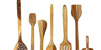 PEBBLE CRAFTS Handmade Wooden Cooking Spoons and Serving Spoon Set with Free Masher | Spatula | Non Stick Kitchen Utensil (Set of 6)