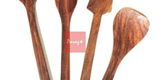 Parage Handmade Wooden Non-Stick Serving and Cooking Spoon Kitchen Tools, Set of 4, Rosewood, Brown