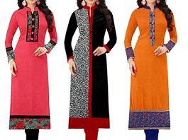 Pramukh Fashion Women's Cotton Straight Kurta Pack Of 3