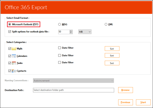 Office 365 mailbox to PST