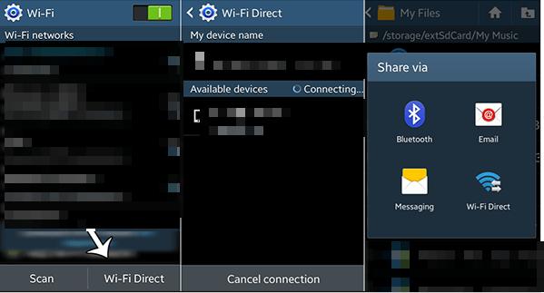 1- مشاركة الملفات من خلال Wi -Fi Direct