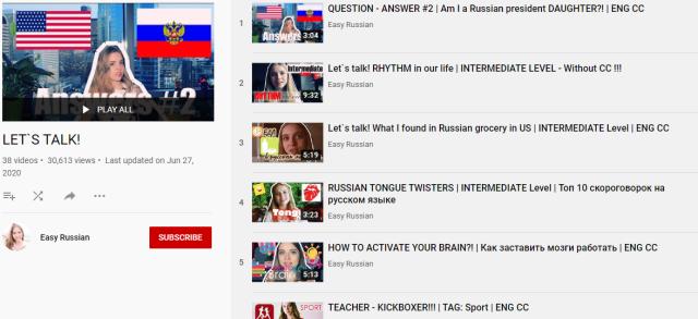 قنوات تعلم اللغة الروسية