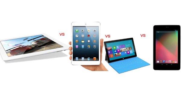 iPad 4, iPad mini, Windows Surface RT, Google Nexus look and size comparison