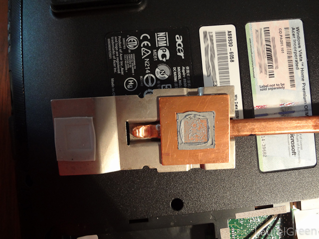 a heat sink with old thermal compound on it