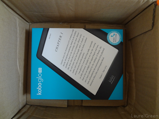 a photo of a kobo glo hd box inside its shipping box
