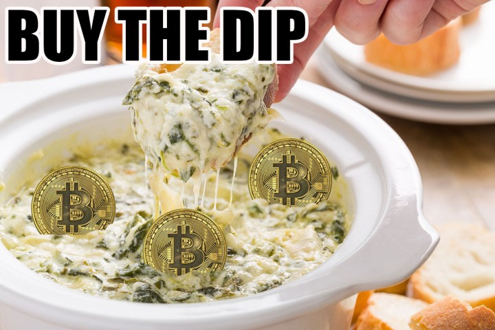 """An image of some chip dip with bitcoins in it. It has the words """"BUY THE DIP"""" in impact font overtop it."""
