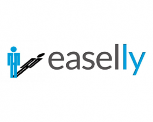 This is the easel.ly logo. It has a stick man figure in blue with a black shadow. The text is all lowercase in black and blue.