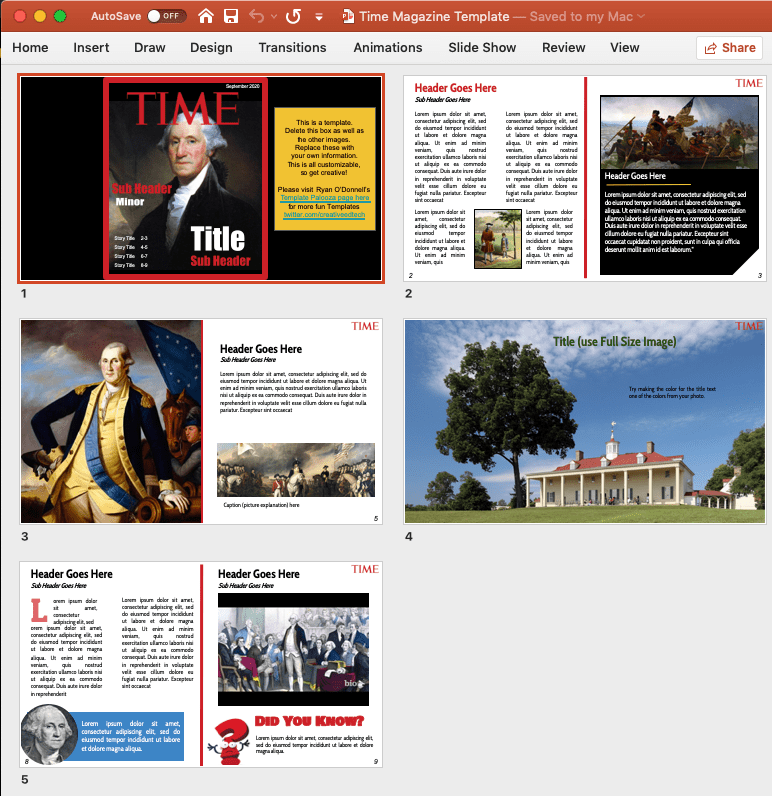 screenshot of the slides in a PowerPoint template used to create a Time magazine layout.
