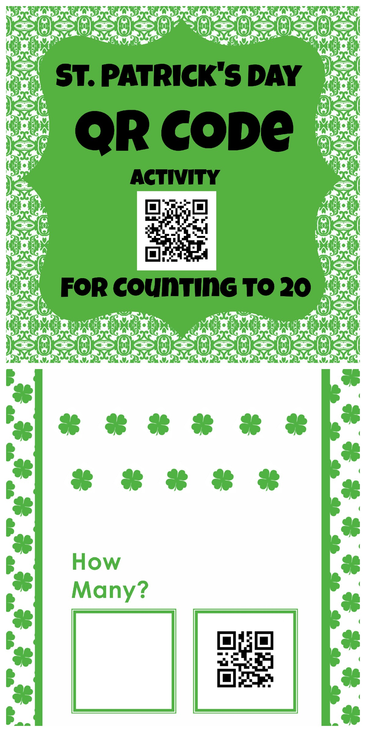 St Patrick S Day Qr Codes For Counting To 20