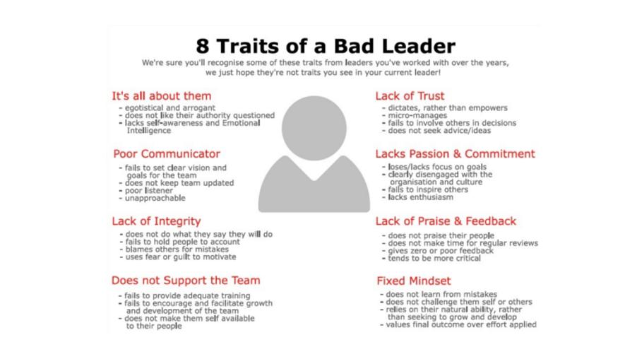 traits of a bad leader